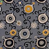 Декоративная ткань узорчатые круги с черными стеблями растений на пурпурном фоне Испания 82674v1, фото 3