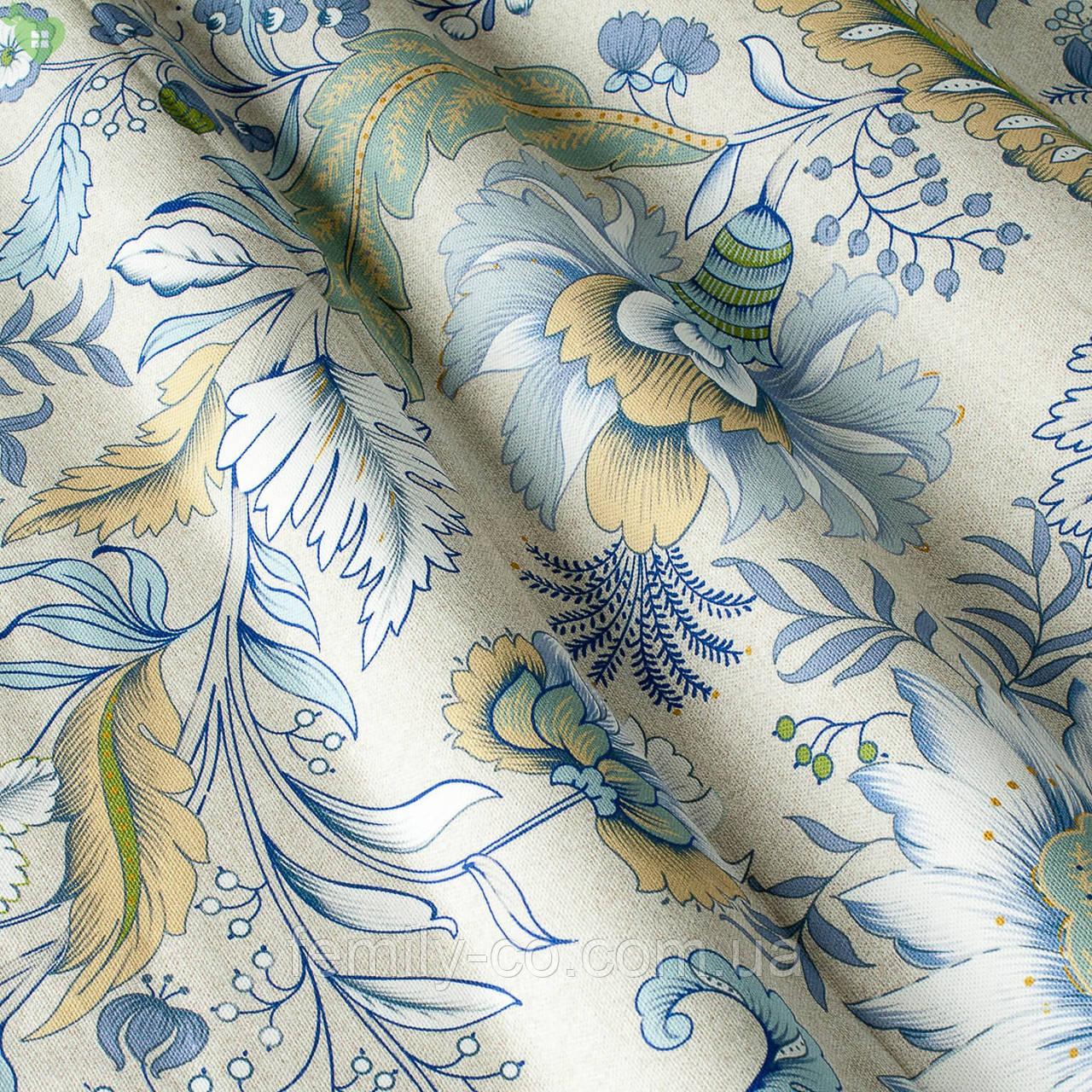Декоративная ткань с тропическими растениями голубого и зеленого цвета Испания 82672v1
