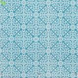 Декоративная ткань с белым узором в виде мандалы на бирюзовом фоне Испания 82652v1, фото 2