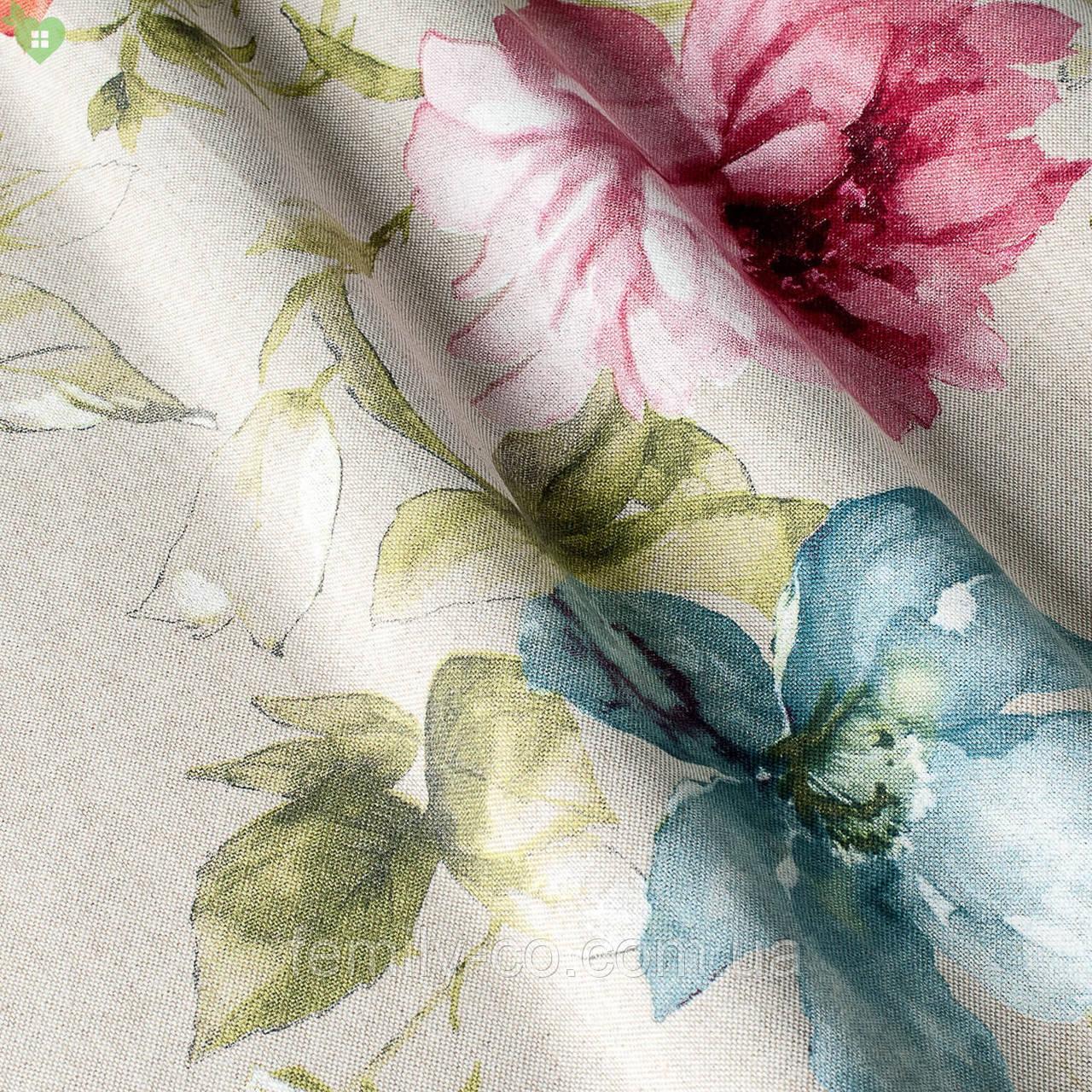 Декоративная ткань с крупными разноцветными цветами на светло-сером фоне Испания 82571v1