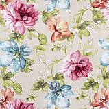 Декоративная ткань с крупными разноцветными цветами на светло-сером фоне Испания 82571v1, фото 2
