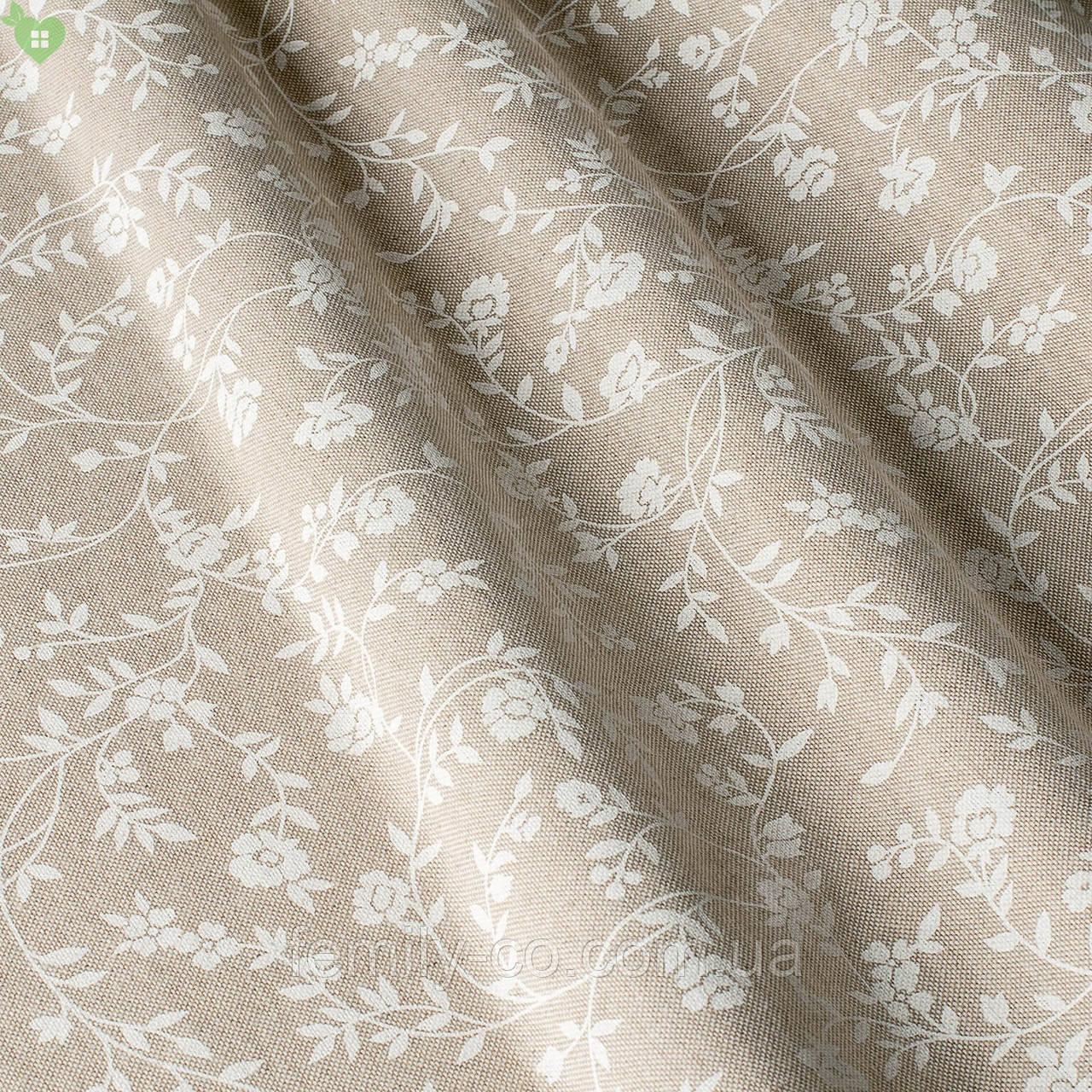 Декоративная ткань с мелкими белыми веточками на льняном фоне Испания 82570v1