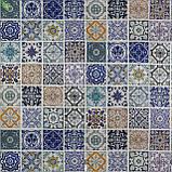 Декоративная ткань с витражной плиткой голубого и синего цвета на сером Испания 82339v1, фото 2