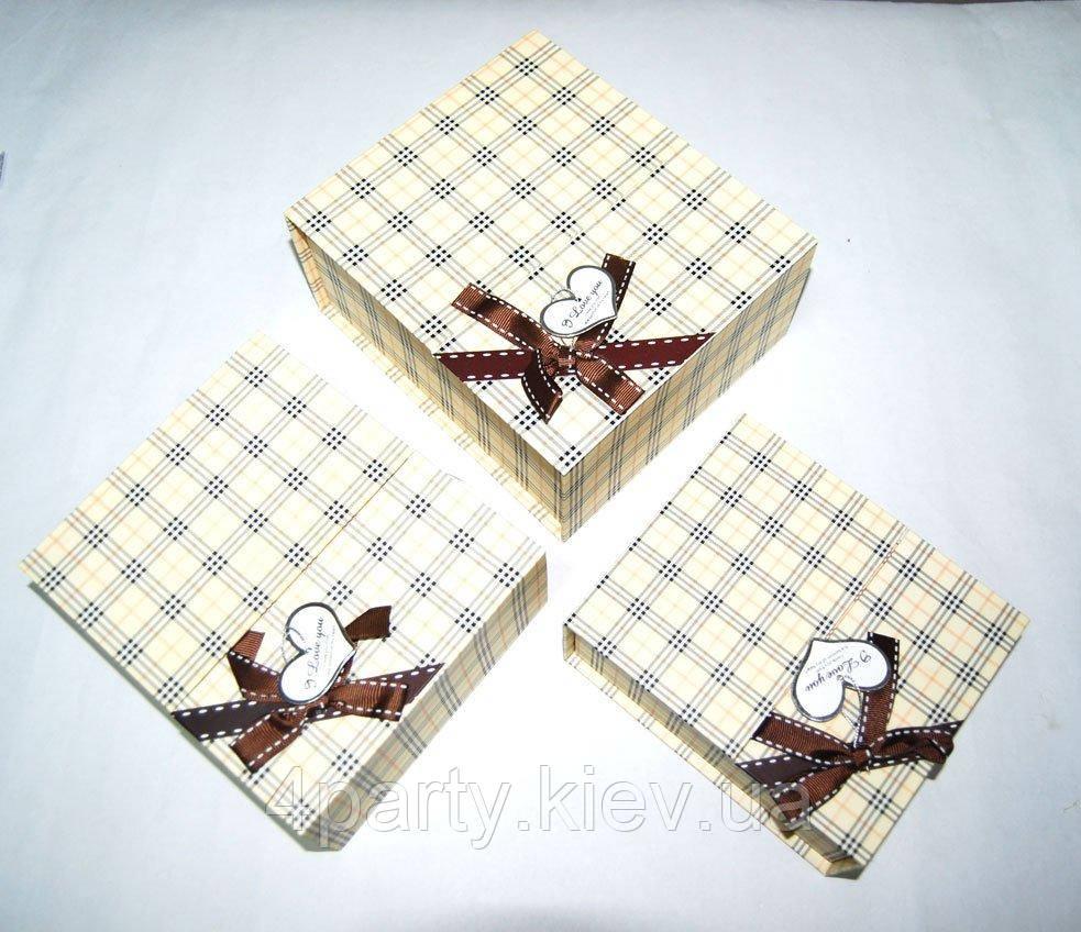 Набор праздничных коробок желтая клетка с бантом 040316-294