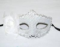 Маска венеция Фиора блестки (Белая) 240216-218