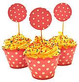 Топперы для кексов Горошек (розовые) 250317-003