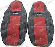 Авточехлы DAF XF 105 1+1 2005- (красные) VIP ЛЮКС Nika