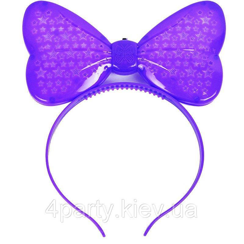 Обруч бант світиться (фіолетовий) 280917-003