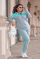 Женский спортивный костюм  Новинки больших размеров серый
