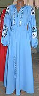 """Вышитое платье """"Голубка"""" голубое"""