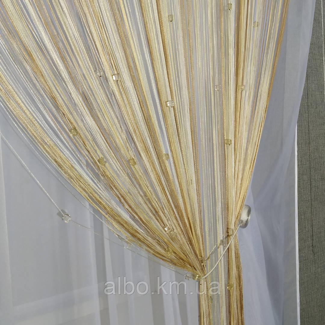Нитяні штори з камінням для залу кімнати дитячої, серпанок штори на вікна двері балкон лоджію, серпанок для кухні спальні залу,
