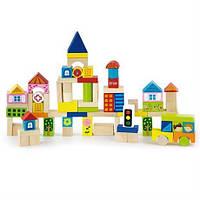 """Конструктор детский деревянный для детей старше 2 лет - набор строительных блоков Viga Toys """"Город"""" 75 шт."""