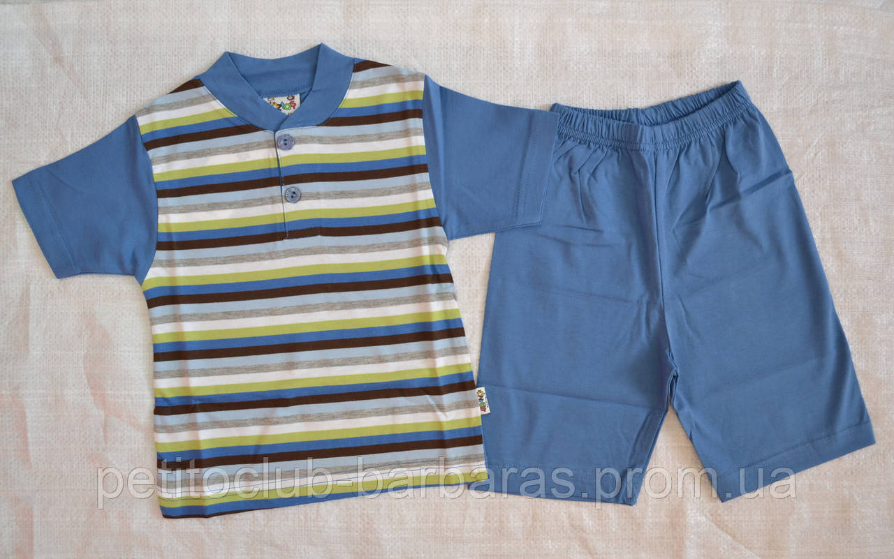 Летняя пижама для мальчика полосатая синяя р.86-92, 122-128  (OZTAS, Турция)