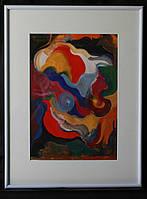 Картина аквареллю та гуашью, картина в інтер'єр, абстракція