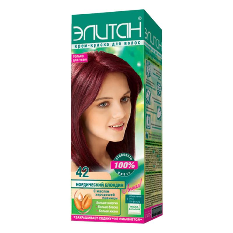 """Крем-краска для волос Элитан """"100% стойкость цвета""""  №42 Красное дерево"""