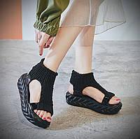 Женские сандали в стиле Tricot, крупная вязка, пена, черные 36 (22,5 см)