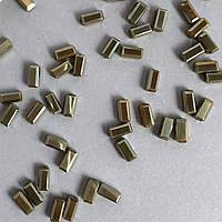 Хрустальные бусины. Форма: прямоугольник. Размер: 3х6 мм. Цвет: Зеленый золотой