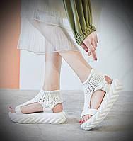 Женские сандали в стиле Tricot, крупная вязка, пена, белые 38 (23,5 см)