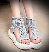 Женские сандали в стиле Tricot, крупная вязка, пена, серые 36 (22,5 см)