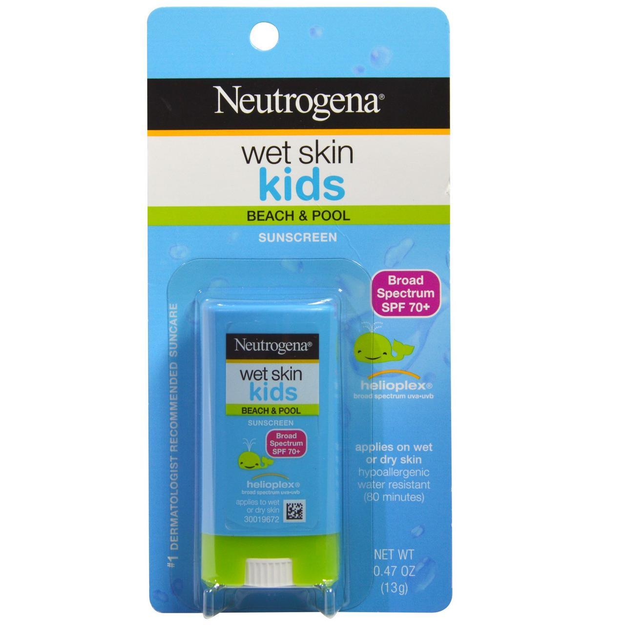 Твердый солнцезащитный стик для загара для детей с защитой  SPF 70+ Neutrogena, Wet Skin Kids, 13 г