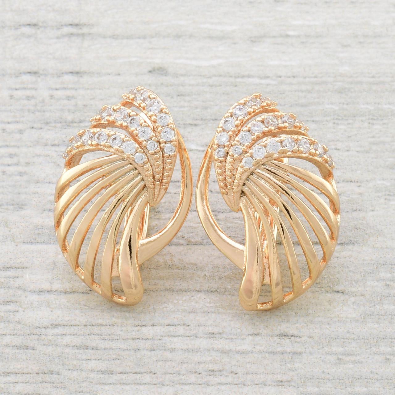 "Серьги Xuping Jewelry ""Золотой лепесток"" медицинское золото, позолота 18К, английский замок А/В 3690"