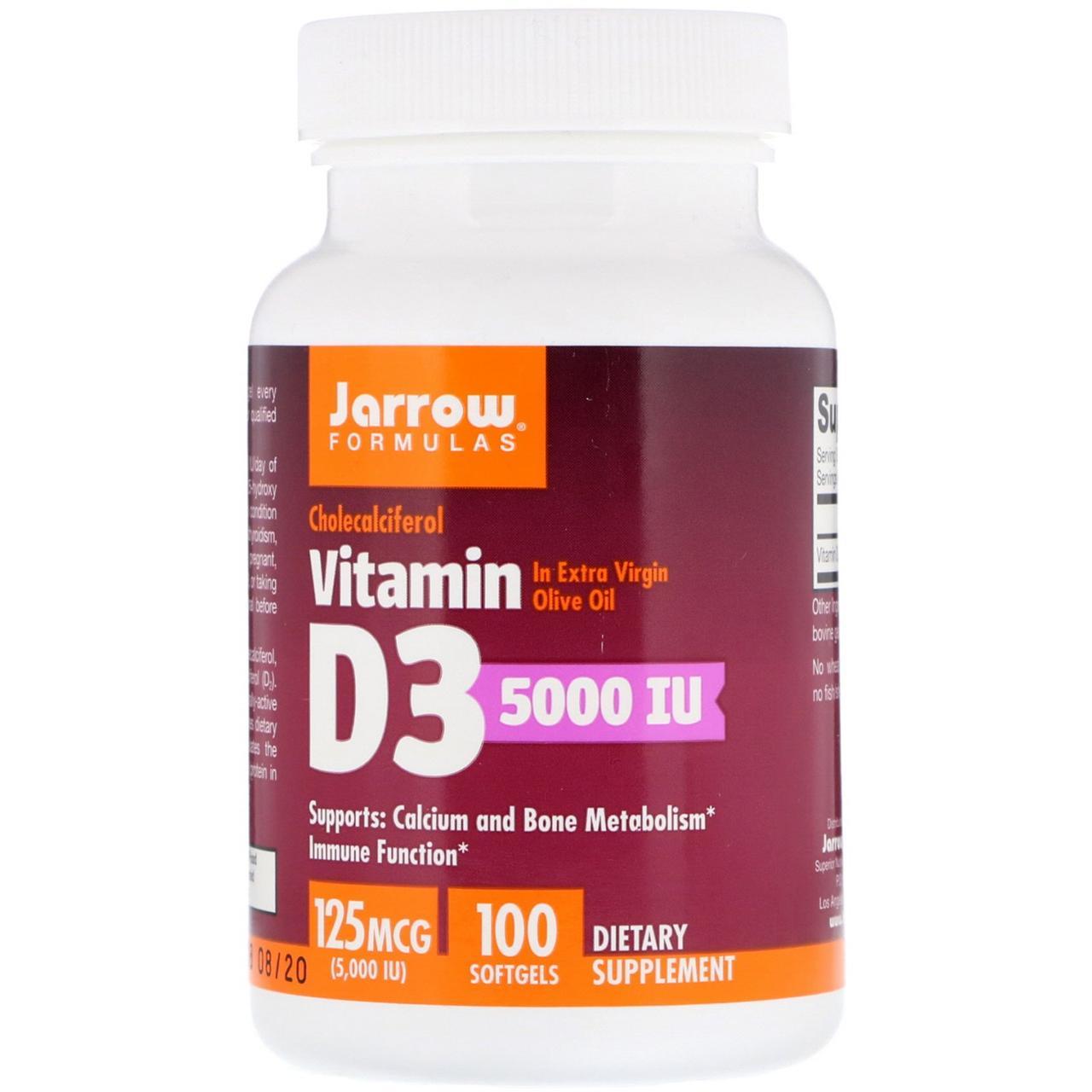 Jarrow Formulas, ВитаминD3, 125мкг (5000МЕ), 100мягких таблеток