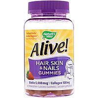 Жевательные витамины Nature's Way для волос, кожи и ногтей, Со вкусом клубники, 60 жевательных таблеток
