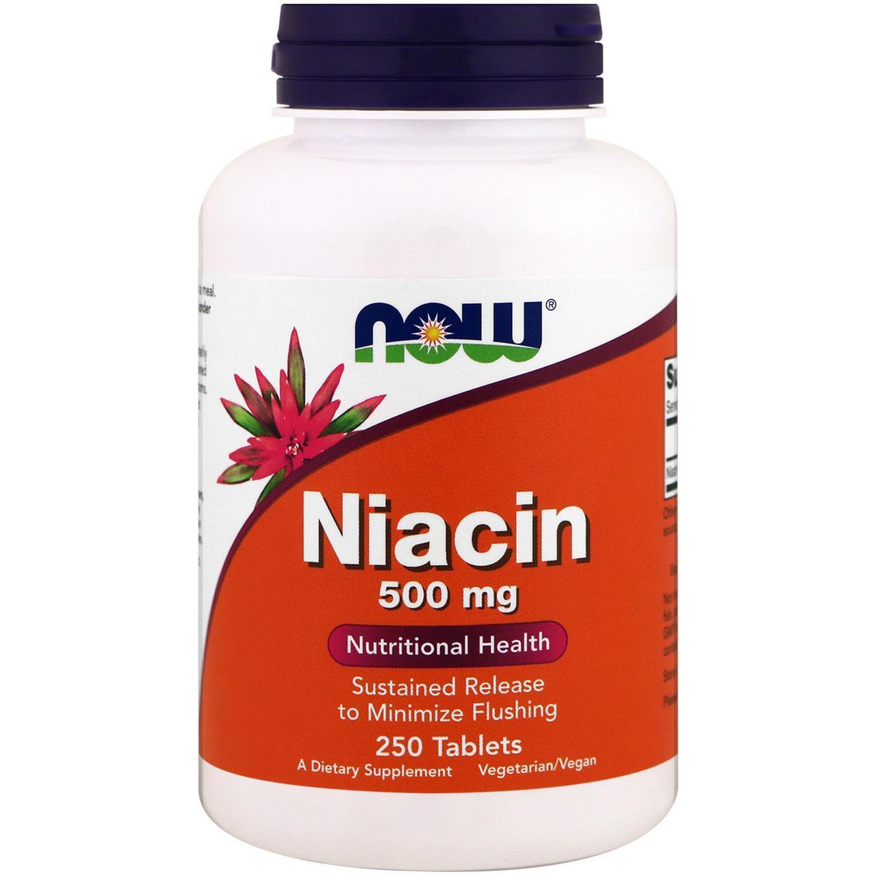 Now Foods, Ниацин, 500 мг, 250 таблеток