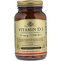 Природный витамин D3 Solgar, 55 мкг (2200 МЕ), 100 растительных капсул