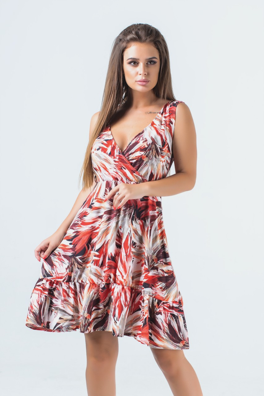 Мини платье с завышенной талией 42-50 (в расцветках)