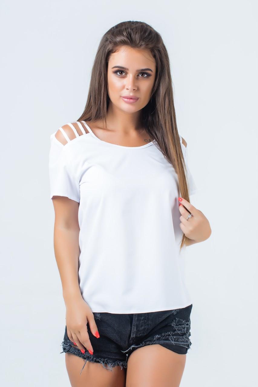 Женская блузка с разрезами на плечах 42-50 (в расцветках)