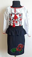 Подростковая юбка-карандаш с баской  р.36,38,40,42, фото 1