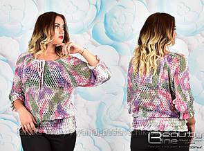 Женская блуза ботальная  Размер 46-52 №6315