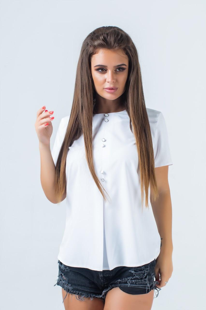 Розкльошена блузка з гудзиками 42-56 (в кольорах)