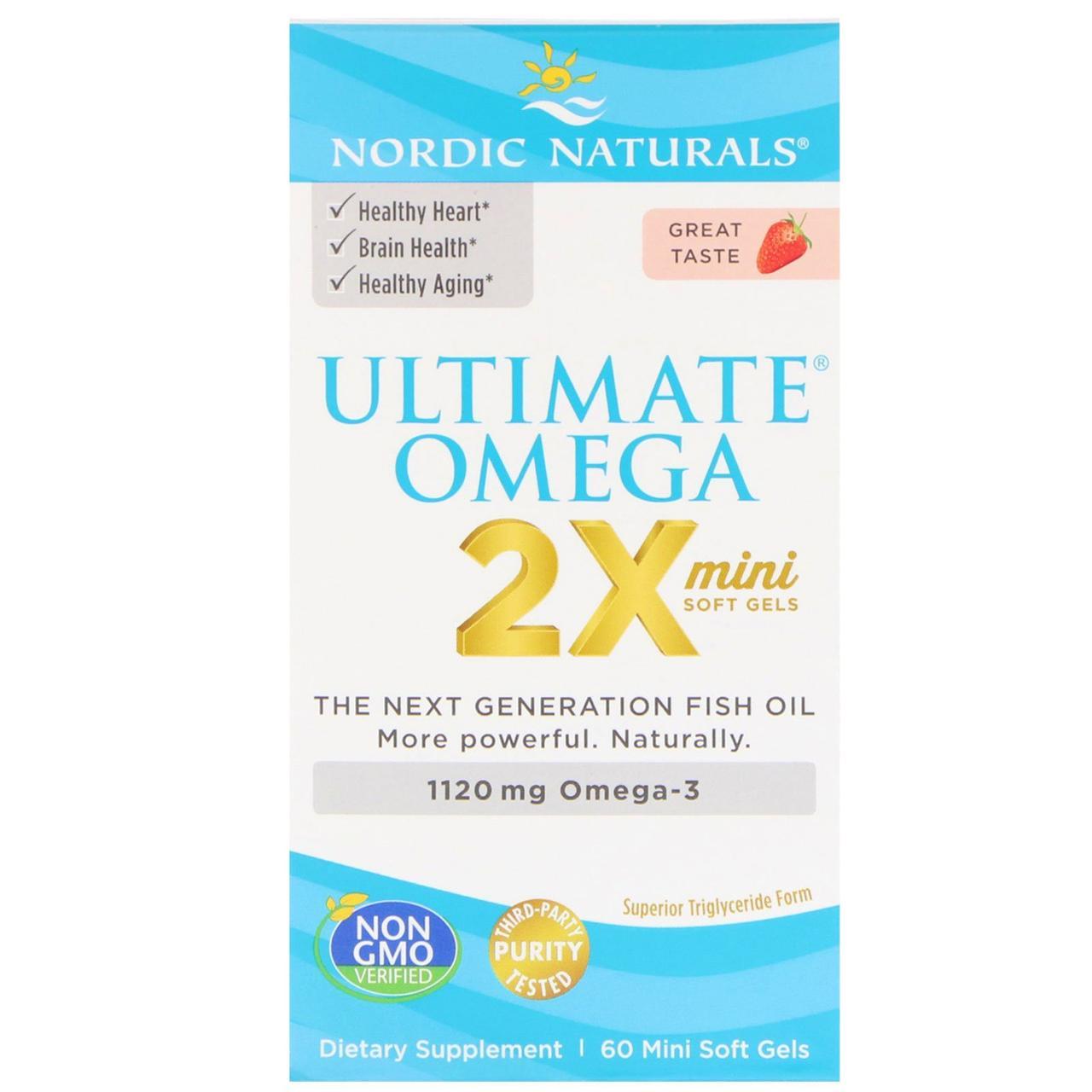 Nordic Naturals, Ultimate Omega 2X, вкус клубники, 1120 мг, 60 мини-капсул