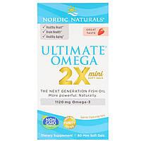 Nordic Naturals, Ultimate Omega 2X, вкус клубники, 1120 мг, 60 мини-капсул, фото 1