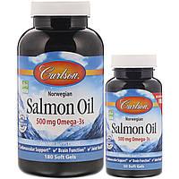 Carlson Labs, Жир норвежского лосося, 500 мг, 180 мягких таблеток +50 мягких таблеток бесплатно