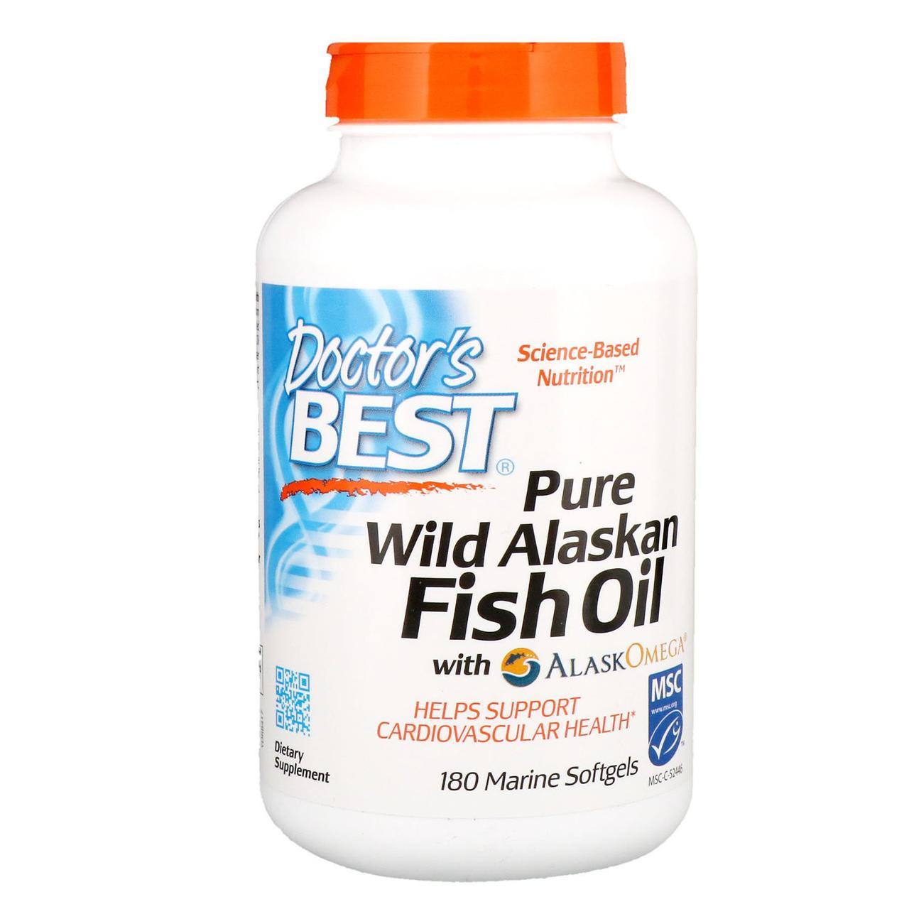 Чистый рыбий жир из дикой Аляски Doctor's Best, 180 капс.