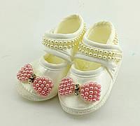 Пинетки босоножки 16.5 размер 10 см длина обувь на новорожденных для девочки Турция нарядные, фото 1