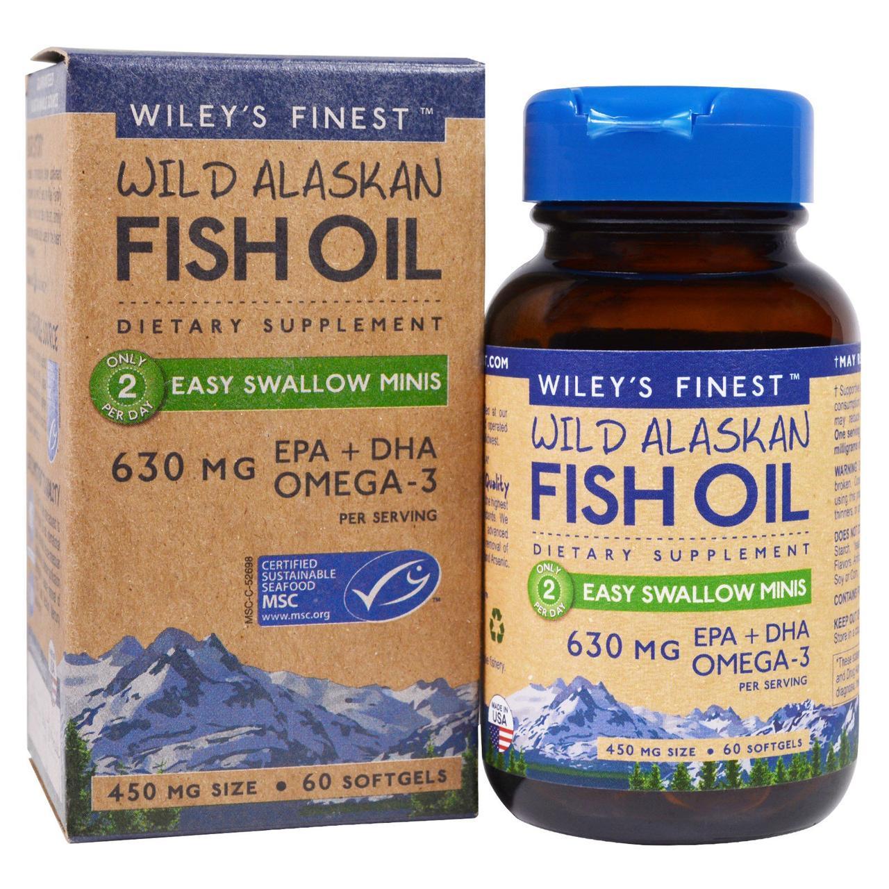 Аляскинский рыбий жир Wiley's Finest, миникапсулы (легко проглатываемые), 450 мг, 60 мягких капсул
