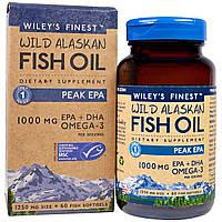 Wiley's Finest, Аляскинский рыбий жир, пик ЭПК, 1250 мг, 60 рыбных мягких капсул