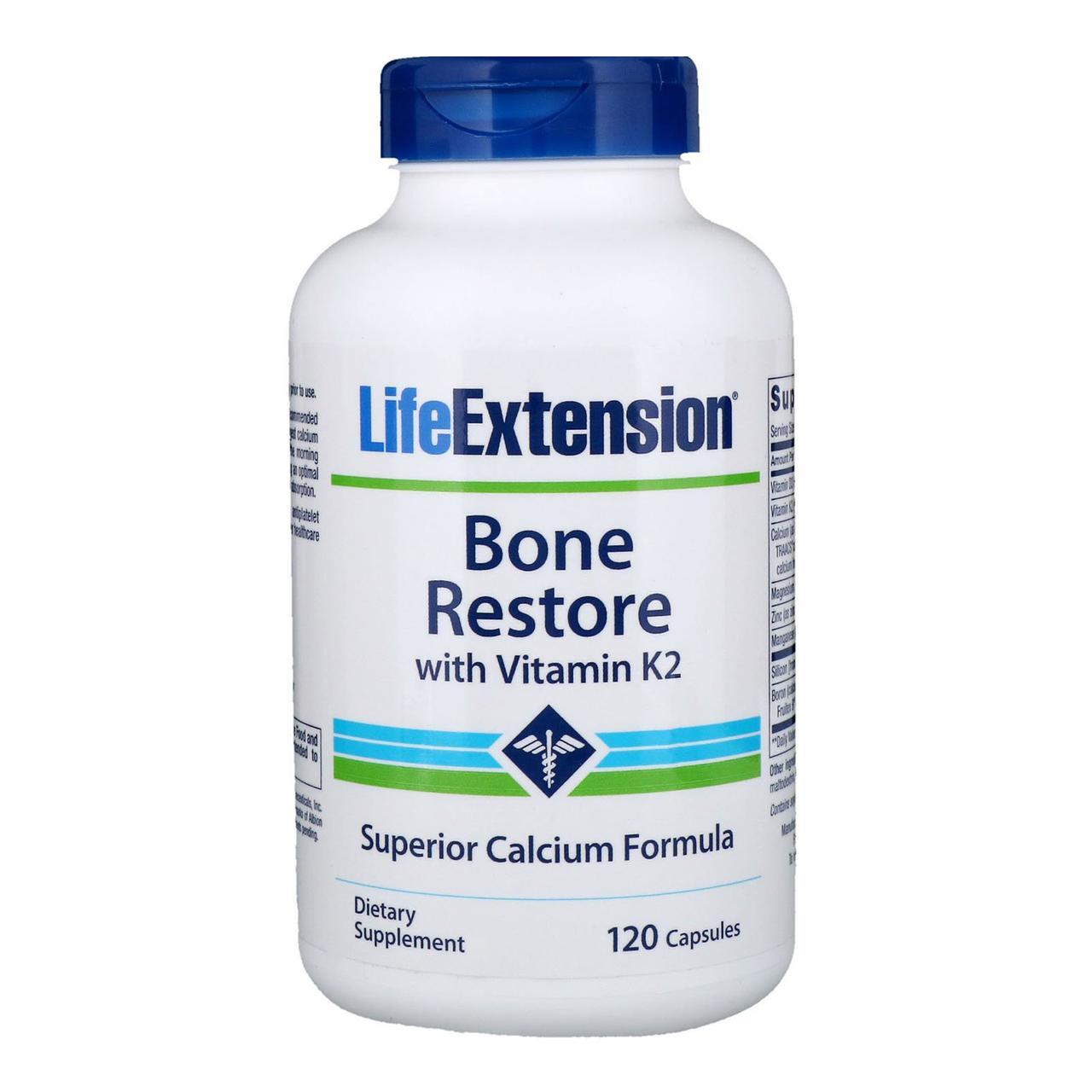 Life Extension, Bone Restore, с витамином K2, 120 капсул