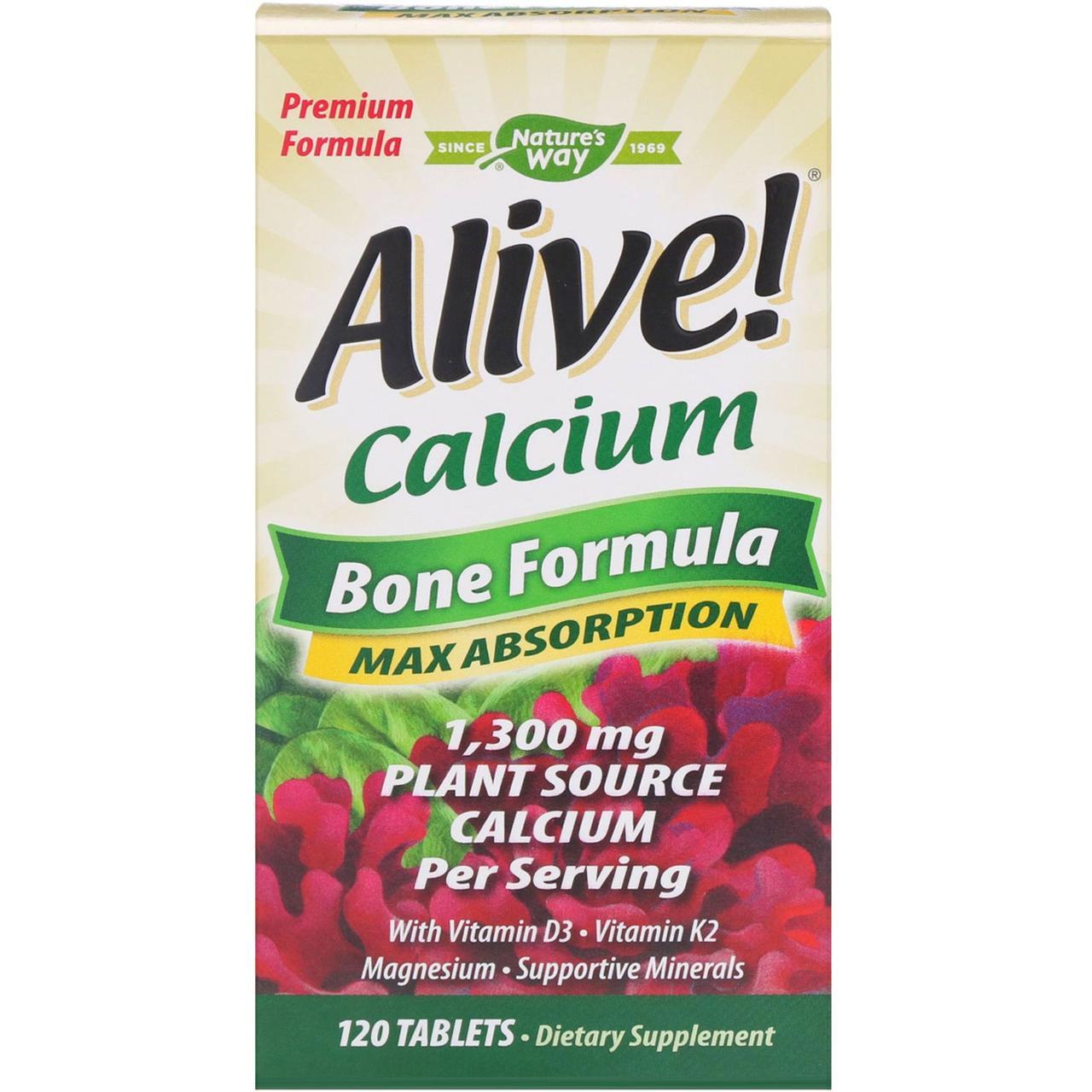 Nature's Way, Живой! Кальций, костная формула, 120 таблеток
