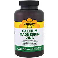 Кальций, магний и цинк Country Life, 250 таблеток