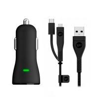 Автозарядка Mophie Single USB Car Charger Black с кабелем Switch-Tip