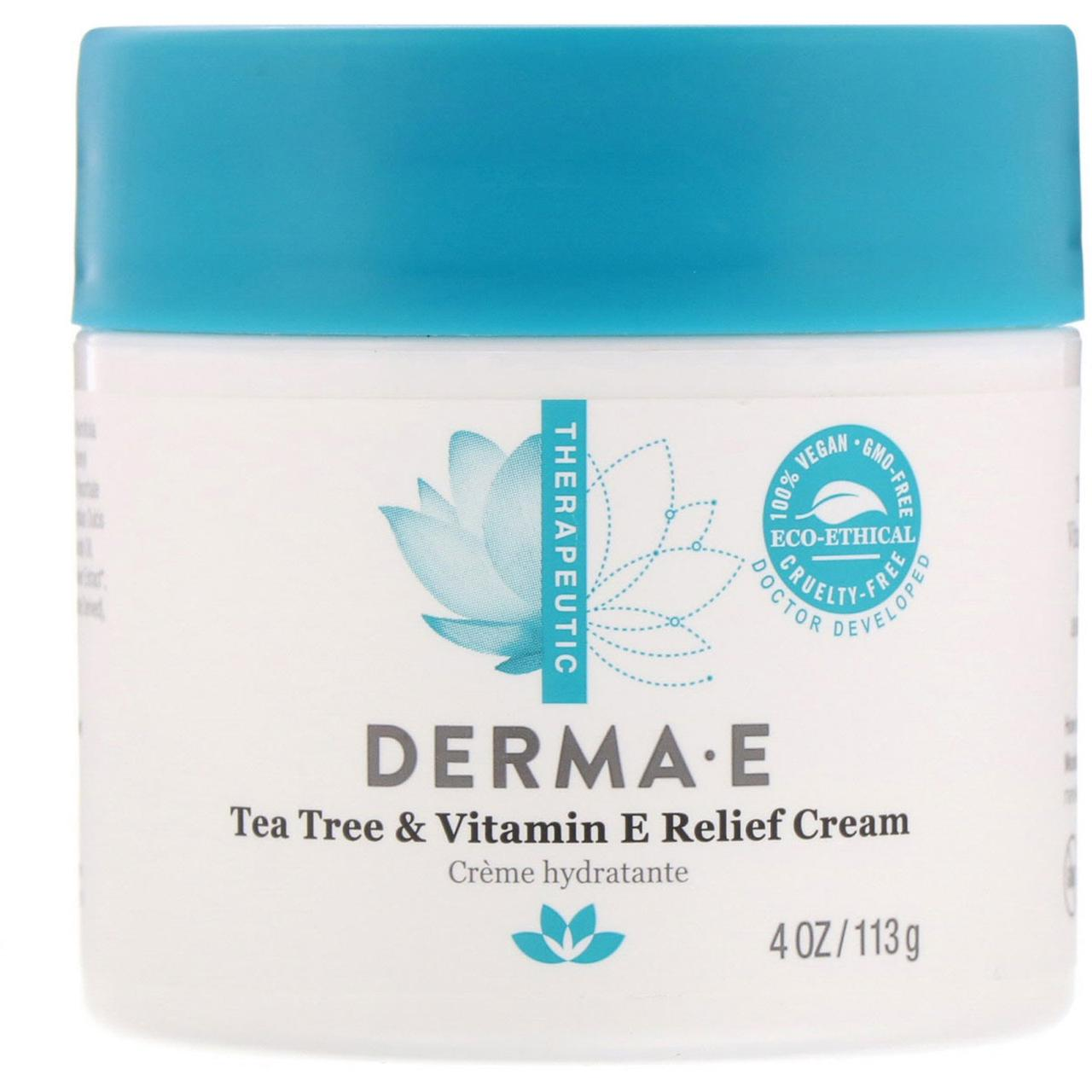 Крем Derma E, с экстрактом чайного дерева и витамином Е, 4 унций (113 гр)
