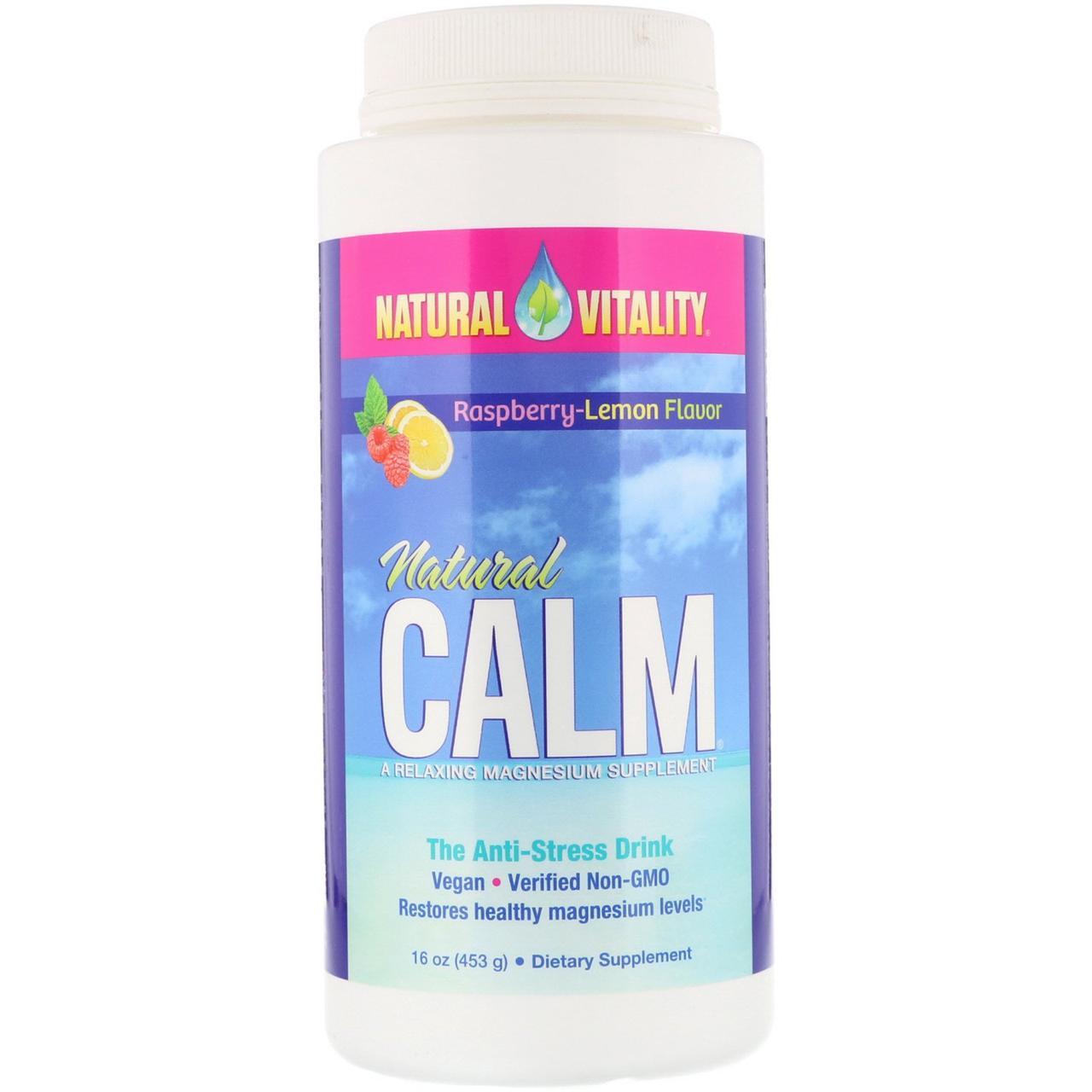 Natural Vitality, Natural Calm, антистрессовый напиток, вкус органической малины и лимона, 453г
