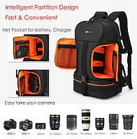 Профессиональная сумка рюкзак  для  фотографа  Ightpro 45x27x20 см  920 черный + оранжевый ноутбук 15,6 дюймов
