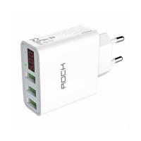 Зарядное устройство с дисплеем ROCK T14 3 USB Travel Charger White