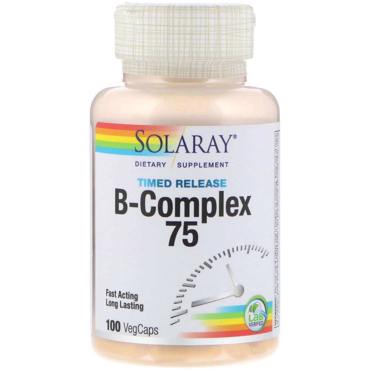 """Комплекс с витаминами группы B """"B-Complex 75"""", замедленное высвобождение от Solaray, 100 веганских капсул"""